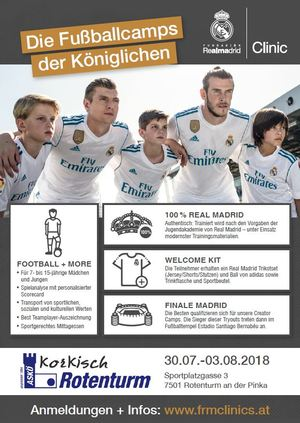 30.07.-03.08.2018  Real Madrid Trainingscamp auf der Sportanlage des ASKÖ Korkisch Rotenturm